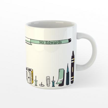 Personalised Teacher Mug - Vertical Pens - Green