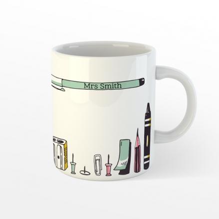 Personalised Teacher Mug - Vertical Pens - Pink