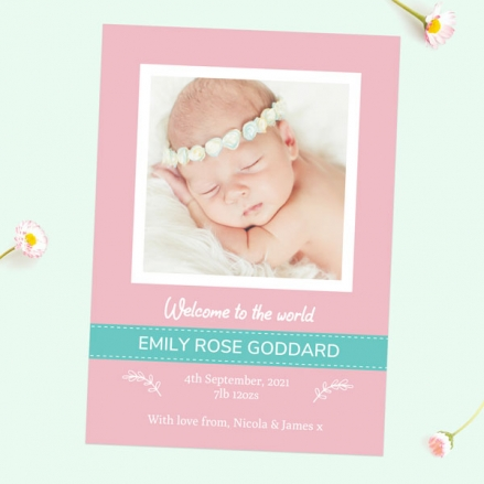 Baby Announcement Cards - Pink & Turquoise Photo - Pack of 10