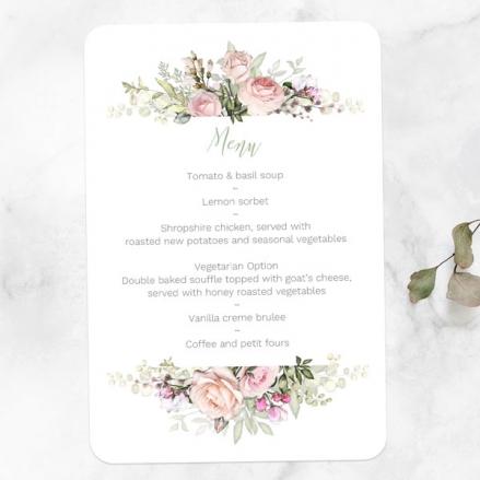 pink-roses-greenery-wedding-menus