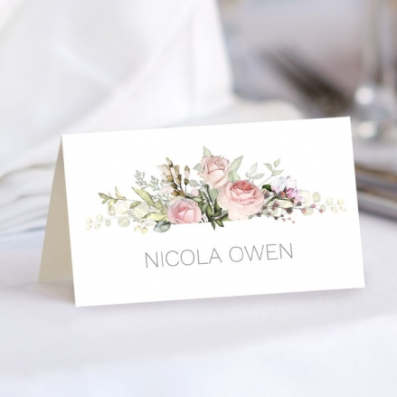 pink-roses-greenery-wedding-place-cards
