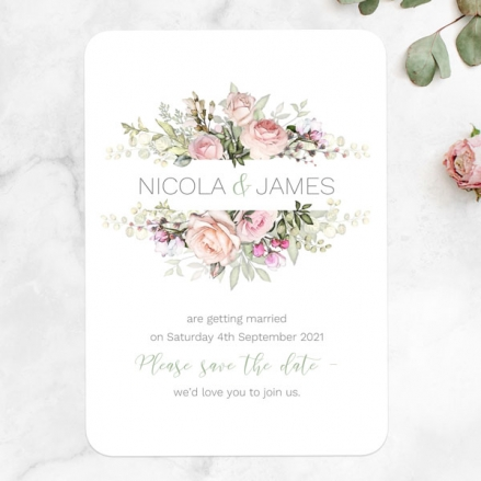 Pink Roses & Greenery - Save the Date Cards