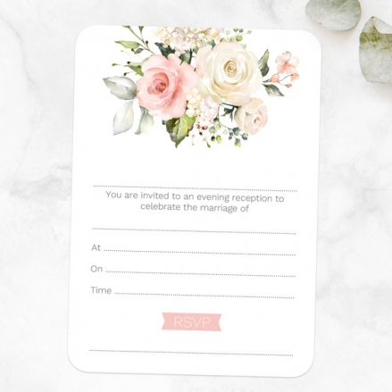 Pink Country Roses - Ready to Write Evening Invitations