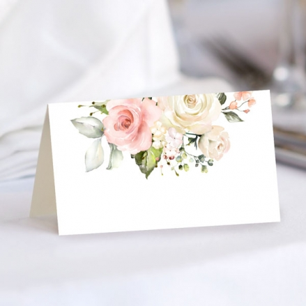 Pink Country Roses - Ready to Write Wedding Place Cards