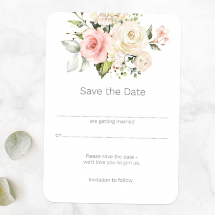 Pink Country Roses - Ready to Write Save the Date Cards