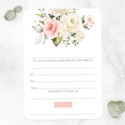 Pink Country Roses - Ready to Write Wedding Invitations