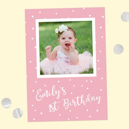 1st Birthday Invitations - Pink Dots Typography - Pack of 10