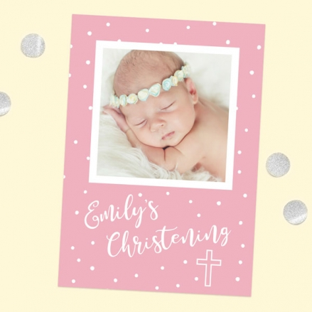 Christening Invitations - Pink Dots Typography - Use Your Own Photo - Pack of 10