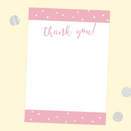 Ready to Write Thank You Cards - Pink Dots Typography - Pack of 10