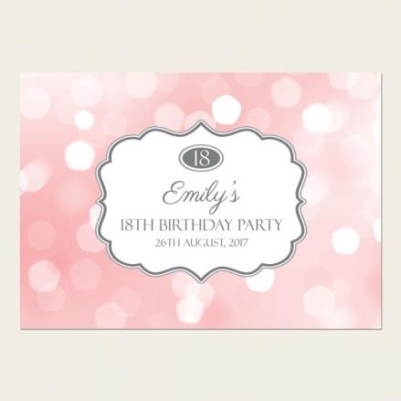 18th Birthday Invitations - Pastel Pink Glitter Pattern
