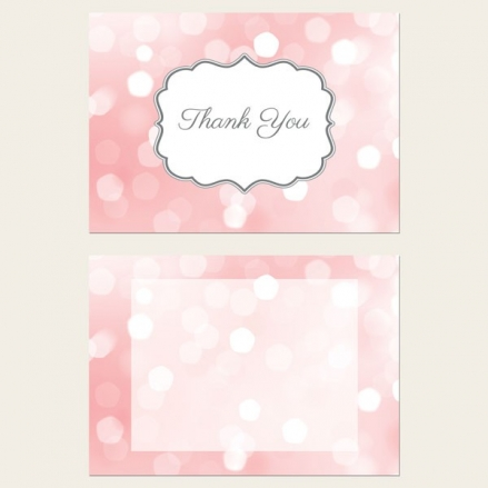Ready to Write Thank You Cards - Pastel Pink Glitter Pattern