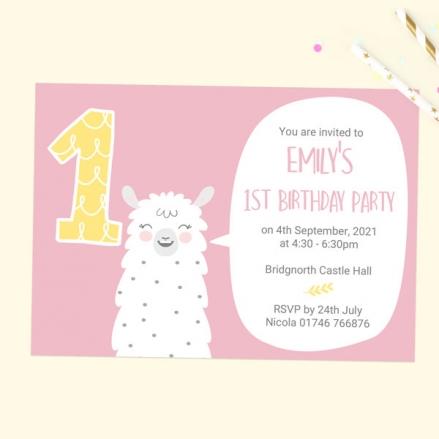 1st Birthday Invitations - Pink Llama - Pack of 10