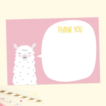 Ready to Write Kids Thank You Cards - Pink Llama - Pack of 10