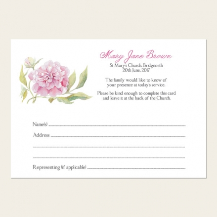 Funeral Attendance Cards - Pink Peony