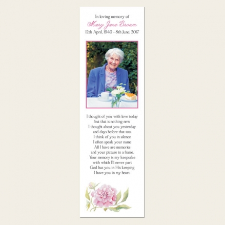 Funeral Bookmark - Pink Peony
