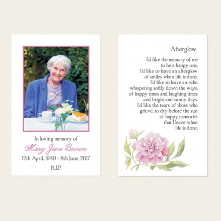 Funeral Memorial Cards - Pink Peony