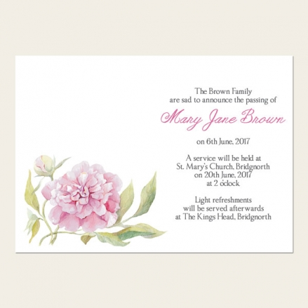 Funeral Announcement Cards - Pink Peony