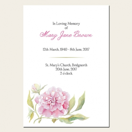 Funeral Order of Service - Pink Peony