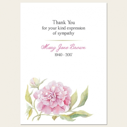 Funeral Thank You Cards - Pink Peony