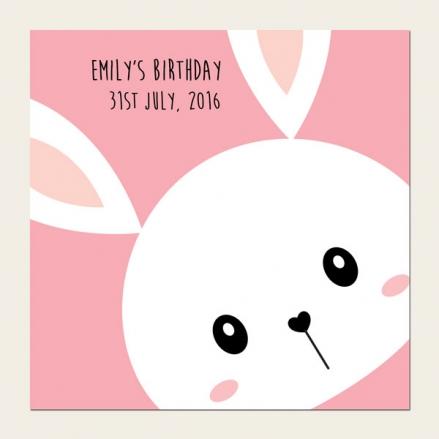 Personalised Kids Birthday Invitations - Pink Rabbit - Pack of 10