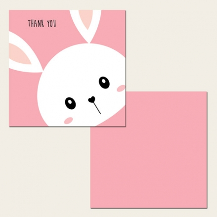Ready to Write Kids Thank You Cards - Pink Rabbit