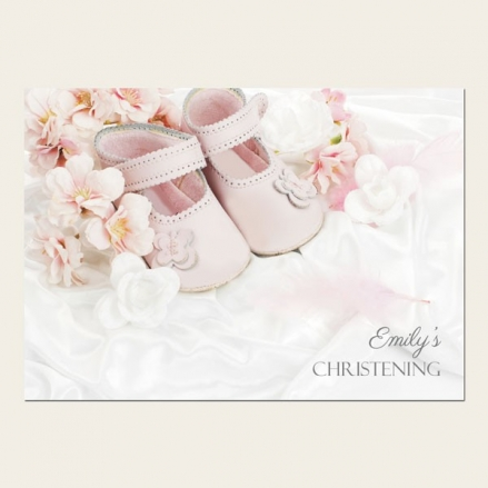 Christening Invitations - Girls Pink Shoes - Postcard - Pack of 10