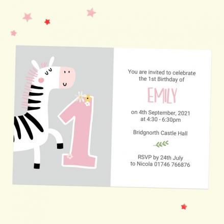 1st Birthday Invitations - Pink Zebra - Pack of 10