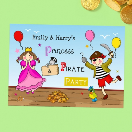 Kids Birthday Invitations - Pirate and Princess Ship - Pack of 10