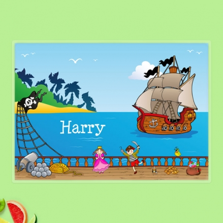 Personalised Kids Placemat - Pirate and Princess Ship