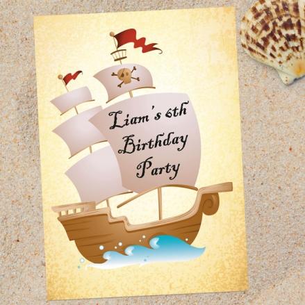 Personalised Kids Birthday Invitations - Pirate Ship - Pack of 10