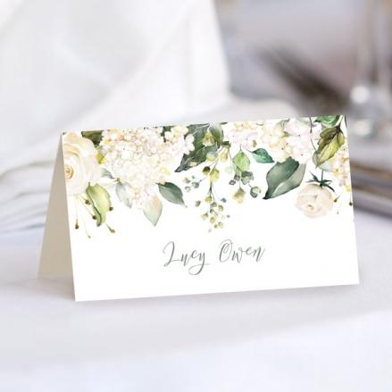 white-flower-garland-wedding-place-cards
