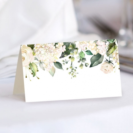 white-flower-garland-ready-to-write-wedding-place-cards