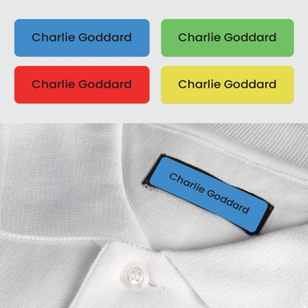No Iron Small Personalised Stick On Waterproof (Clothing) Name Labels - Plain Brights - Mixed Pack of 60