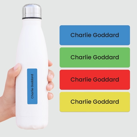 Medium Personalised Stick On Waterproof (Equipment) Name Labels - Plain Brights - Mixed Pack of 42