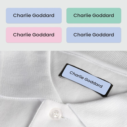 No Iron Small Personalised Stick On Waterproof (Clothing) Name Labels - Plain Pastels - Mixed Pack of 60