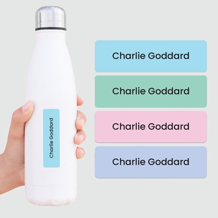 Medium Personalised Stick On Waterproof (Equipment) Name Labels - Plain Pastels - Mixed Pack of 42