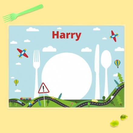 Personalised Kids Placemat - Planes, Trains & Automobiles