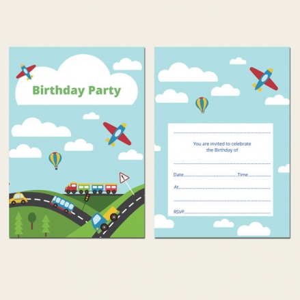 Ready to Write Kids Birthday Invitations - Planes, Trains & Automobiles - Pack of 10