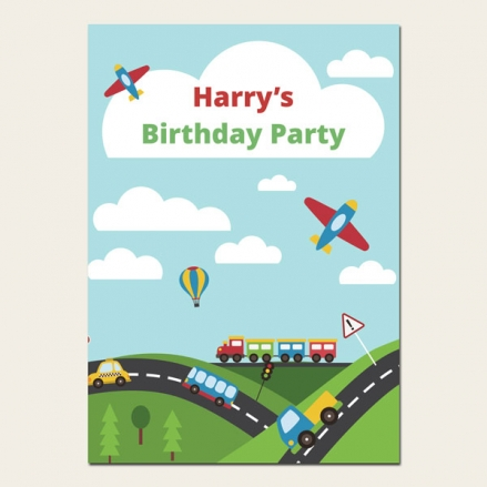 Personalised Kids Birthday Invitations - Planes, Trains & Automobiles - Pack of 10