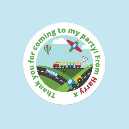 Planes, Trains & Automobiles - Sweet Bag Stickers - Pack of 35