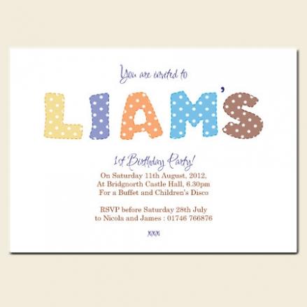 1st Birthday Invitations - Boys Polka Dot Name