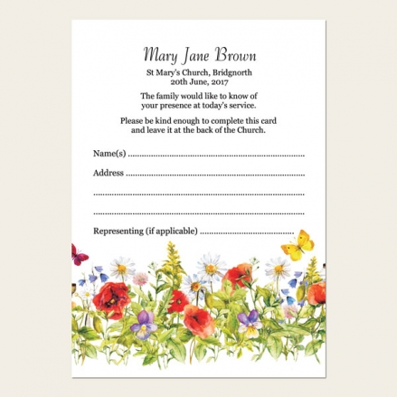 Funeral Attendance Cards - Poppies & Butterflies