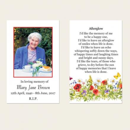 Funeral Memorial Cards - Poppies & Butterflies