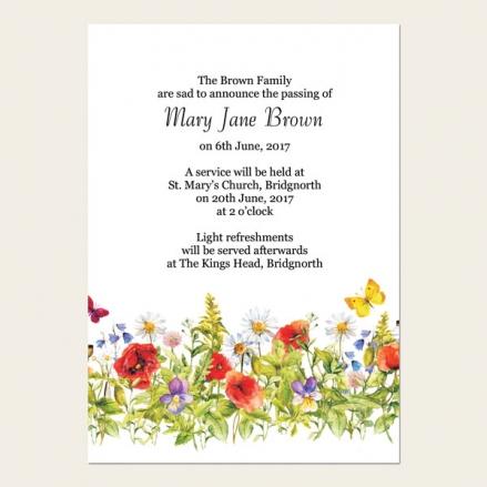 Funeral Announcement Cards - Poppies & Butterflies