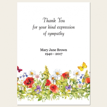 Funeral Thank You Cards - Poppies & Butterflies