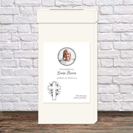 Funeral Post Box - Cross & Lilies Photo