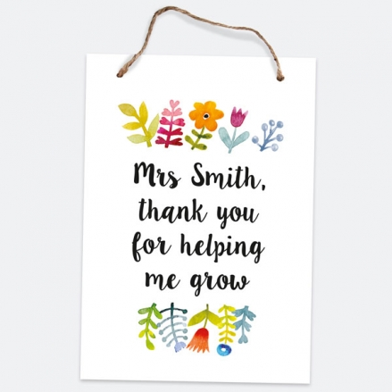 Pretty Bright Flowers - A5 Personalised Teacher Sign