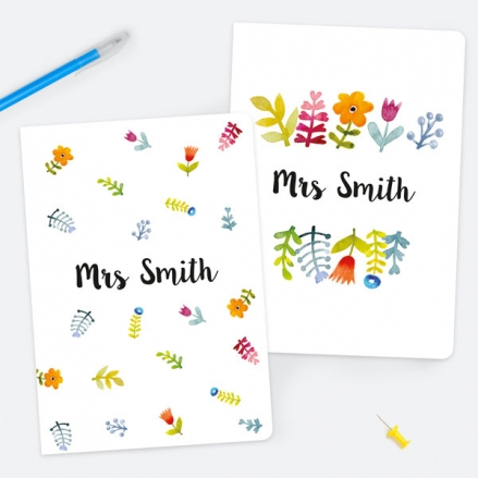 Pretty Bright Flowers - Personalised A5 Exercise Books - Pack of 2