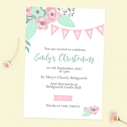 Christening Invitations - Pretty Pastel Party - Pack of 10