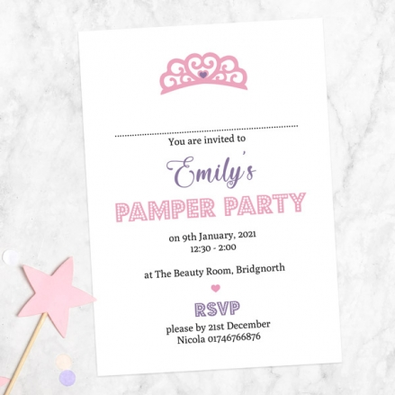 Kids Birthday Invitations - Princess Pamper Party - Pack of 10